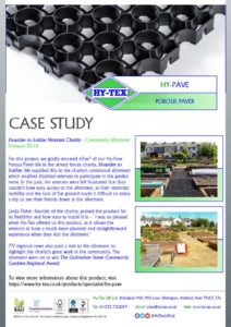 thumbnail of Hy-Tex Case Study – HyPave – Shoulder to Soldier Charity Allotment February 2018