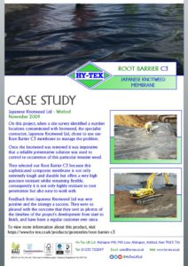 thumbnail of Hy-Tex Case Study – Root Barrier C3 – Japanese Knotweed Ltd November 2009